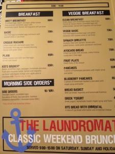 Laundromat menu