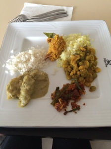 Lentil dhal with a plantain and a cashew curry