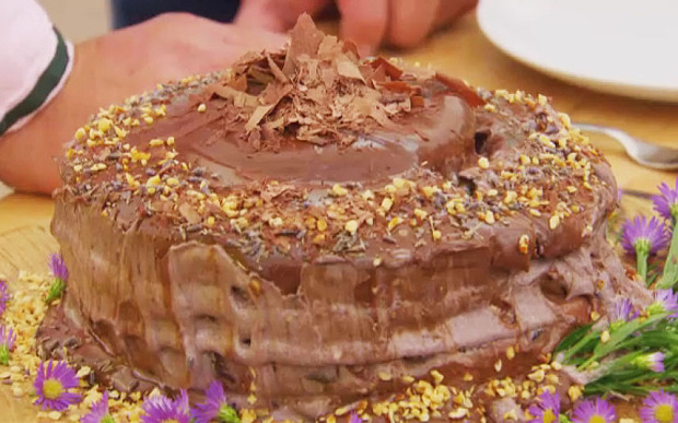 Ugne's (collapsed but tasty looking) sugar-free lavender, hazelnut and chocolate cake (from www.telegraph.co.uk)